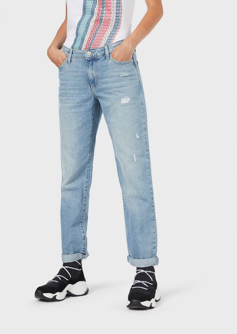 J15 relaxed-fit cropped jeans with a vintage effect