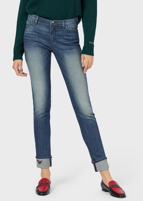 J20 super-skinny jeans in vintage-effect denim with an embroidered eagle