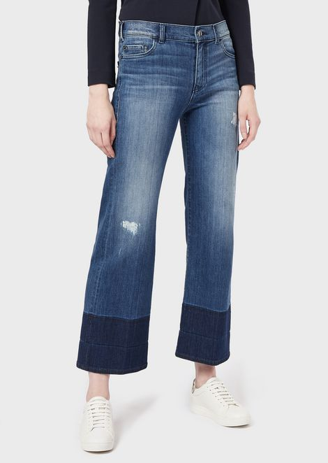 J33 wide-fit cropped jeans in faded ripped denim
