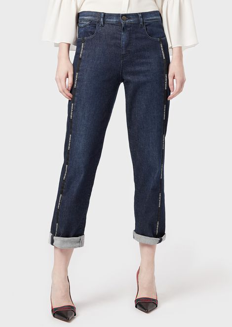 J25 jeans in comfort denim with logoed piping