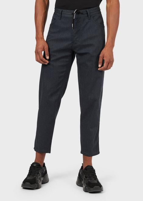 Regular-fit J40 jeans in melange twill with drawstring