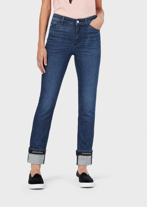 J81 super-skinny jeans in vintage-effect denim with logo tape