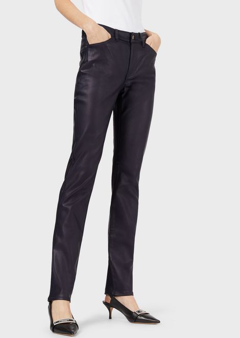 J18 super-skinny trousers in coated stretch gabardine