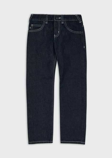 Denim jeans with topstitching
