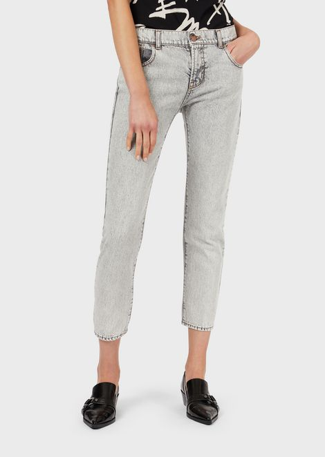 J36 straight-slim jeans in marble-effect denim