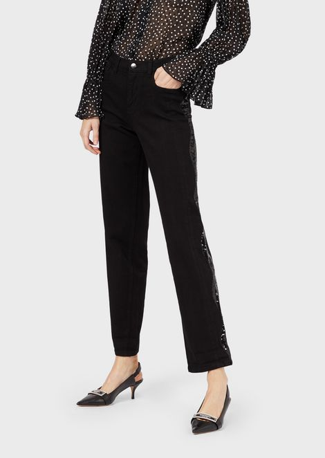 J25 relaxed-fit comfort denim jeans with sequins at the sides
