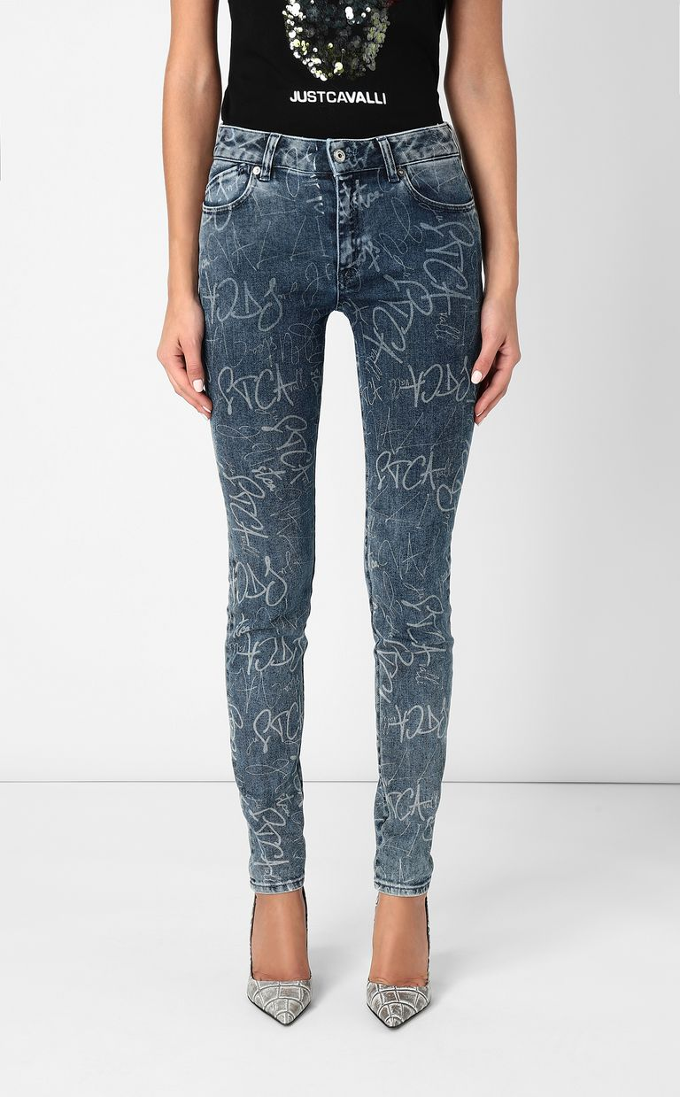 JUST CAVALLI Skinny jeans with logo print Jeans Woman r