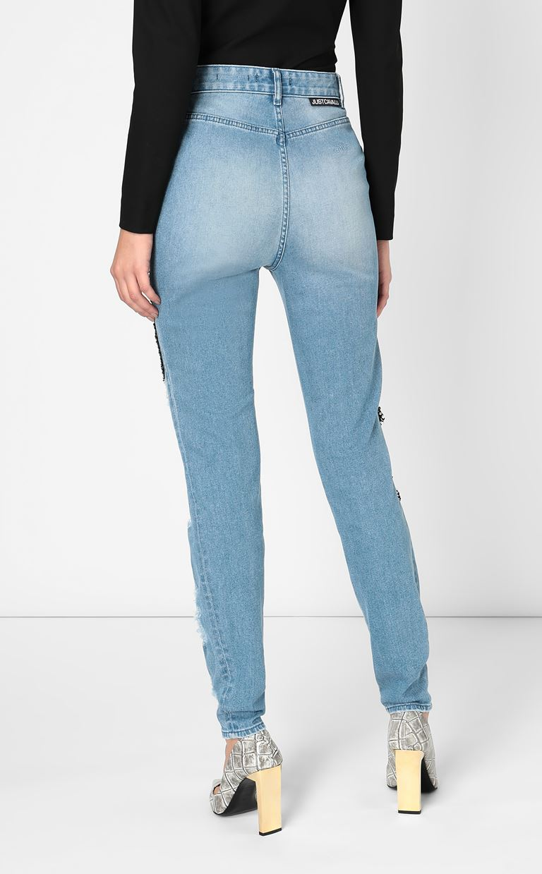 JUST CAVALLI Skinny jeans with mesh inserts Jeans Woman a