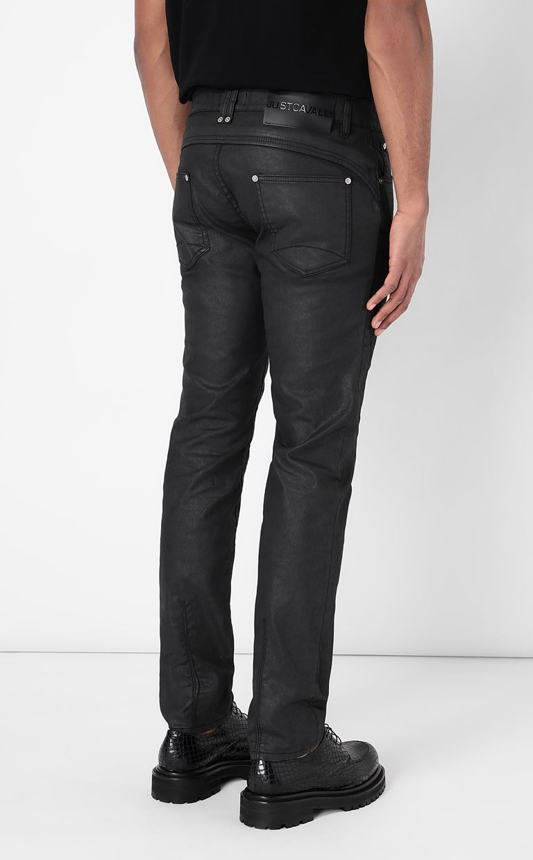 JUST CAVALLI Leather-effect jeans Jeans Man a
