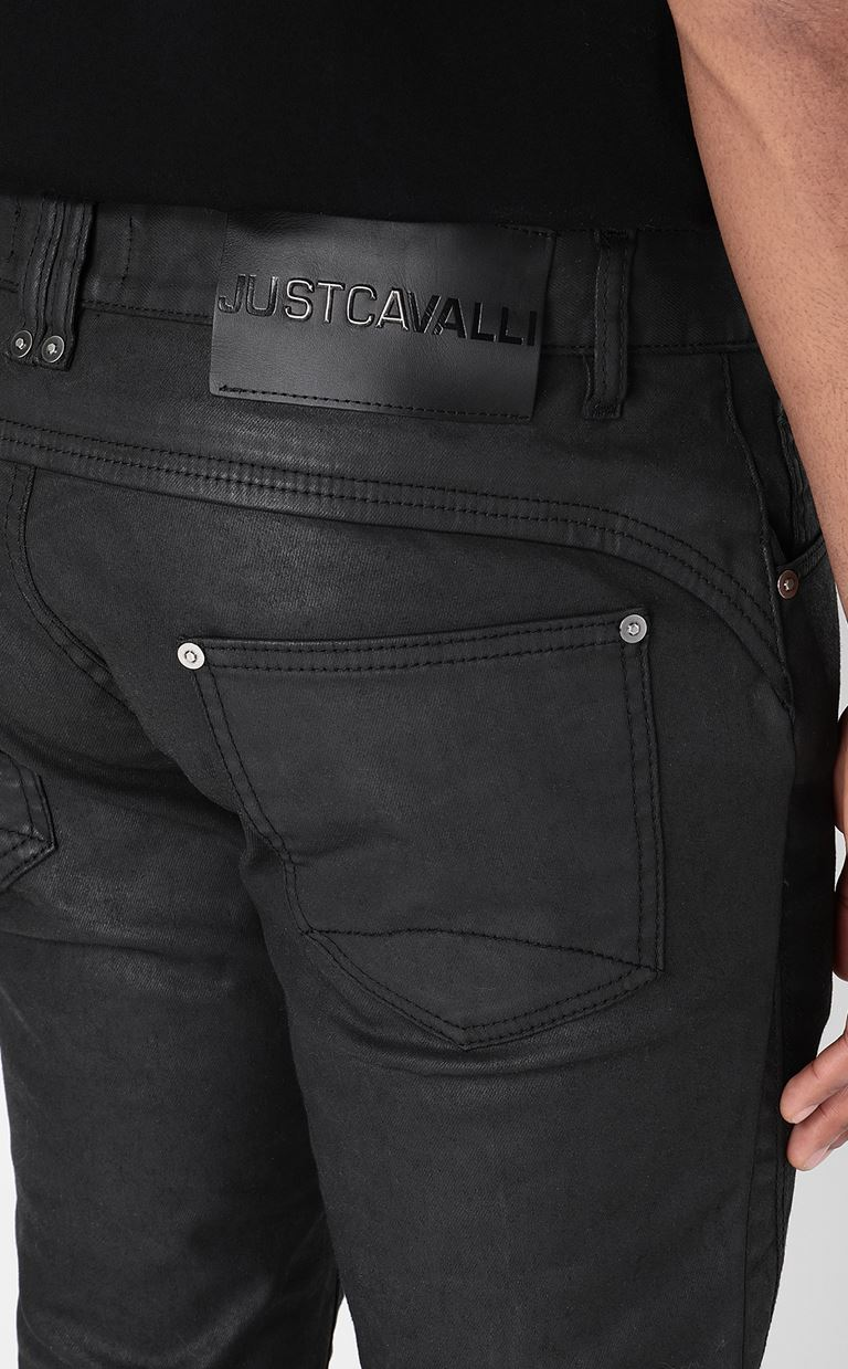JUST CAVALLI Leather-effect jeans Jeans Man e