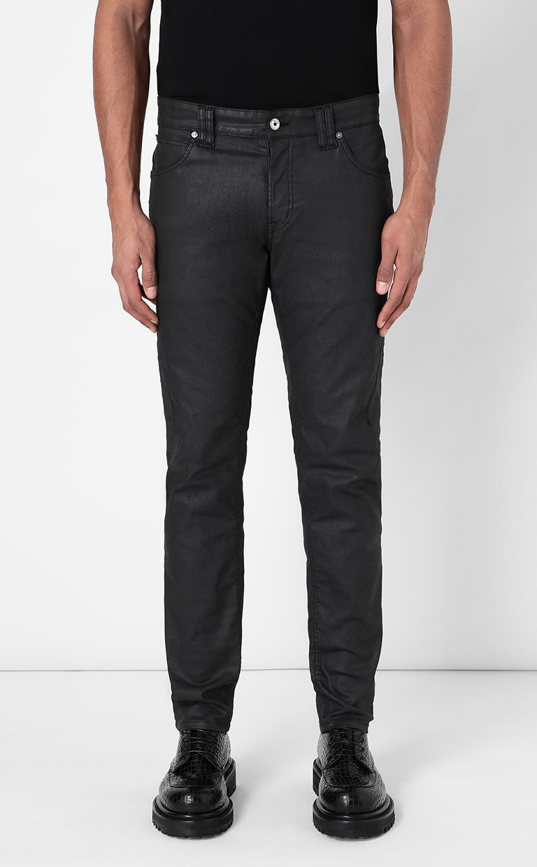 JUST CAVALLI Leather-effect jeans Jeans Man r