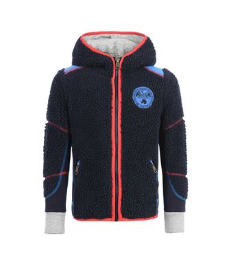 NAPAPIJRI K YUPIK HOOD KID KID FLEECE,DARK BLUE