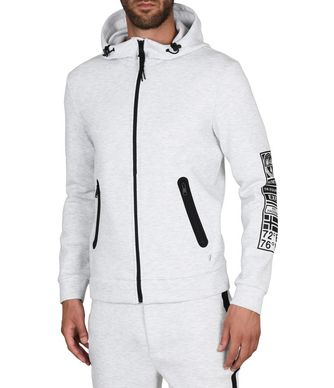 NAPAPIJRI BEAR HOOD FULL ZIP MAN HOODIE,LIGHT GREY