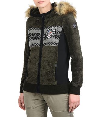 NAPAPIJRI TULSA ECO FUR  WOMAN FLEECE,MILITARY GREEN