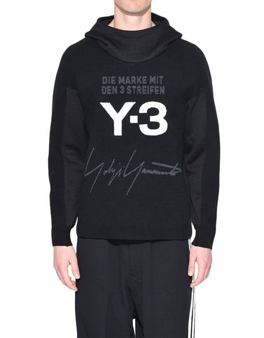 Y-3 Hooded sweatshirt Man Y-3 Knitted Stacked Logo Hoodie r