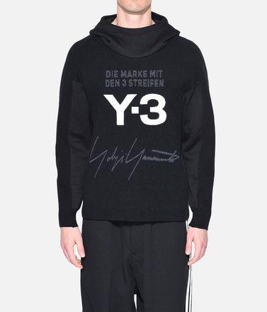Y-3 Hooded sweatshirt Man Y-3 Knitted Stacked Logo Hoodie r