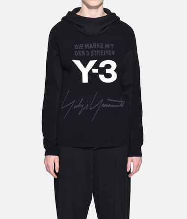 Y-3 Hooded sweatshirt Woman Y-3 Knitted Stacked Logo Hoodie r