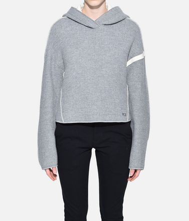 Y-3 Hooded sweatshirt Woman Y-3 Oversize Spacer Wool Cropped Hoodie r