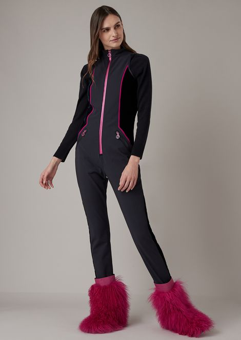 Full zip ski suit in padded waterproof fabric with velvet details