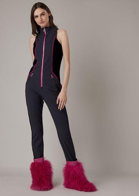 天鹅绒细节加厚防水面料全拉链滑雪服