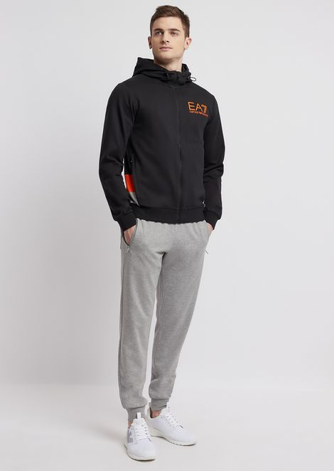 Pure cotton sports tracksuit with printed logo