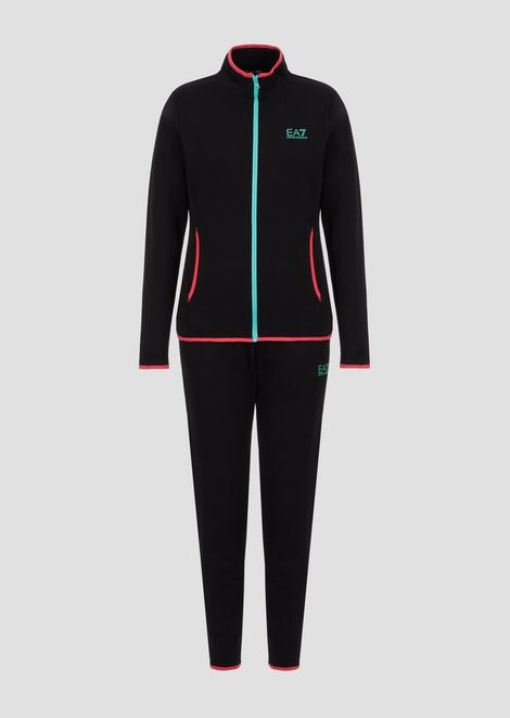 Stretch cotton tracksuit with maxi-print on the back