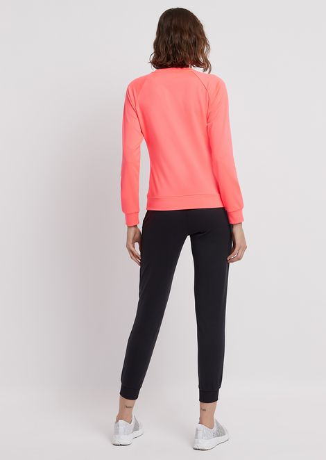Stretch fabric tracksuit with crew-neck sweatshirt