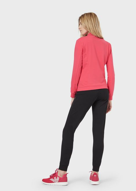 Tracksuit in French terry with sweatshirt with zipper and button