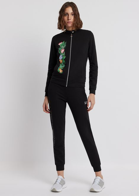 Tracksuit in French terry with tropical flowers print