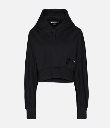 Y-3 Stacked Badge Cropped Hoodie