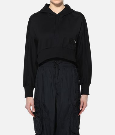Y-3 Hooded sweatshirt Woman Y-3 Stacked Badge Cropped Hoodie r