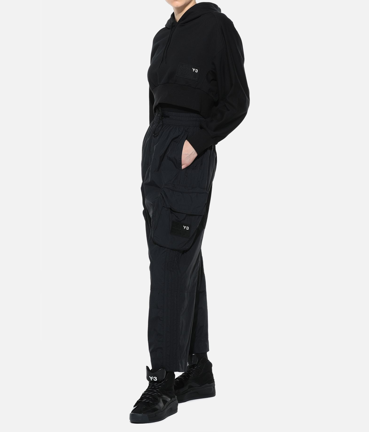 Y-3 Y-3 Stacked Badge Cropped Hoodie Hooded sweatshirt Woman a