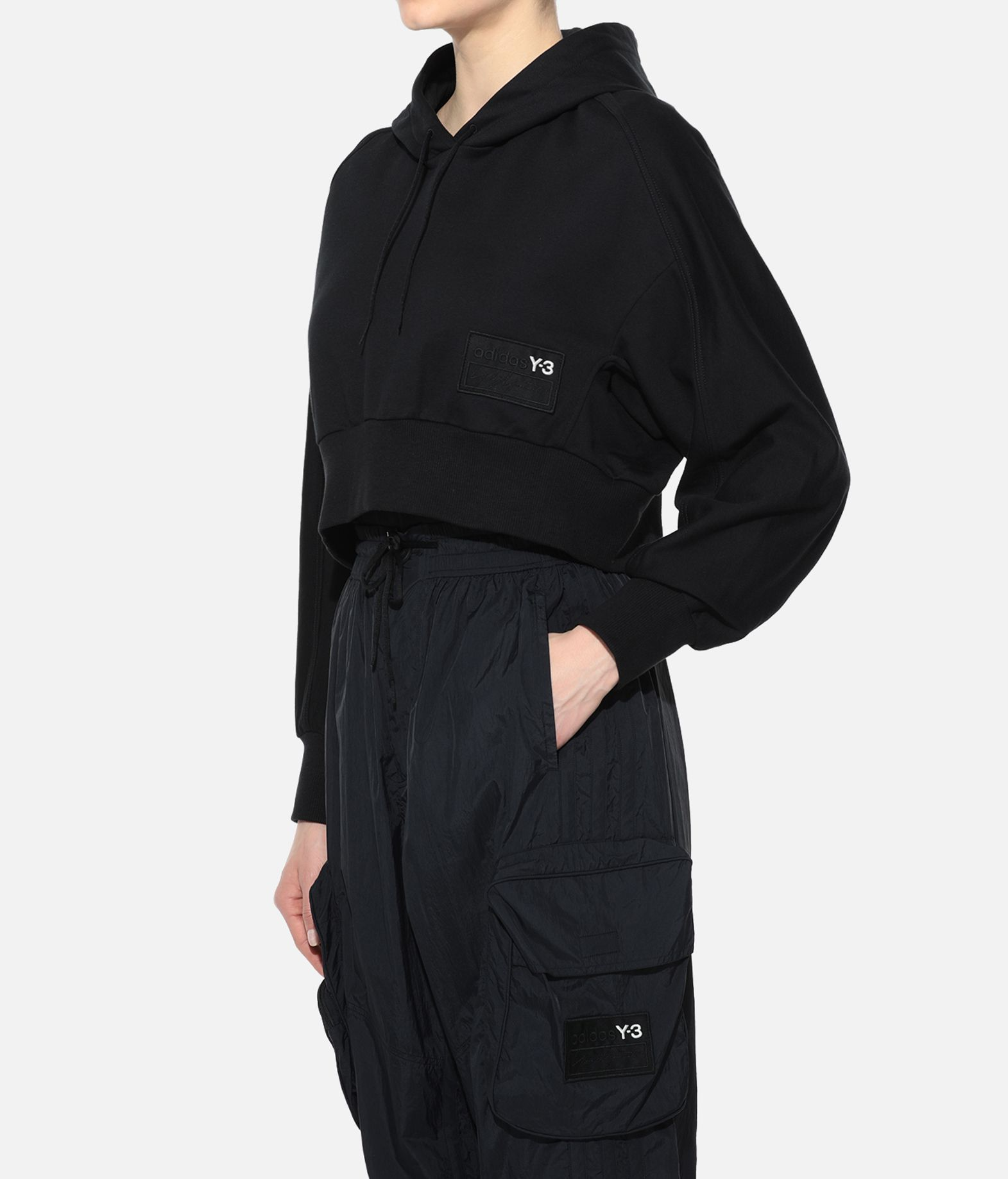 Y-3 Y-3 Stacked Badge Cropped Hoodie Hooded sweatshirt Woman e