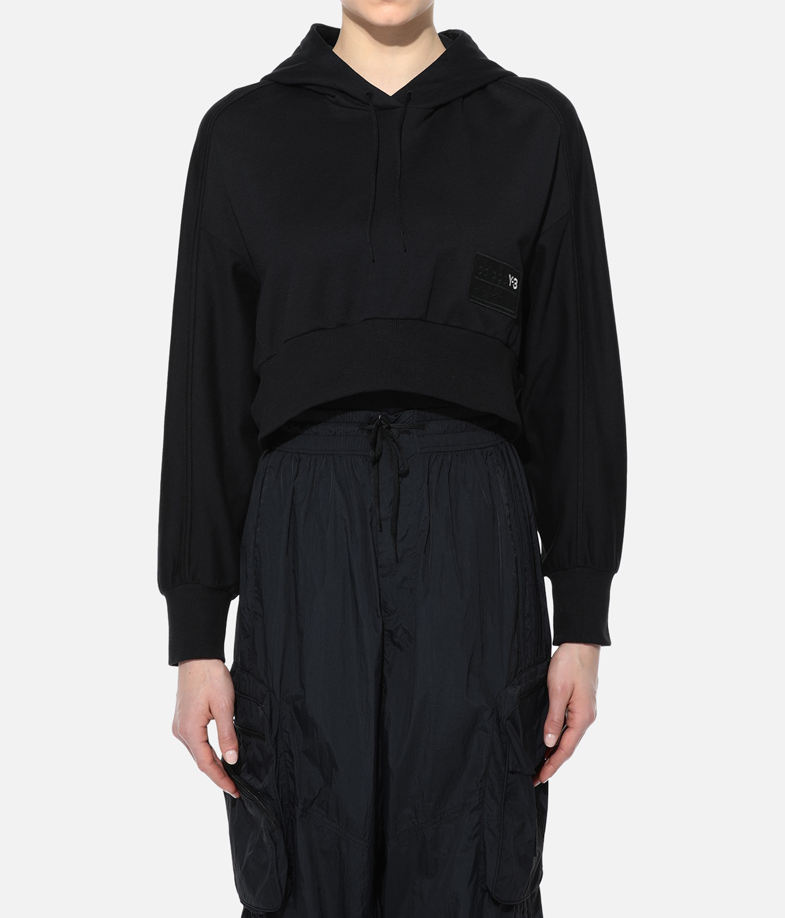 Y-3 Y-3 Stacked Badge Cropped Hoodie Hooded sweatshirt Woman r