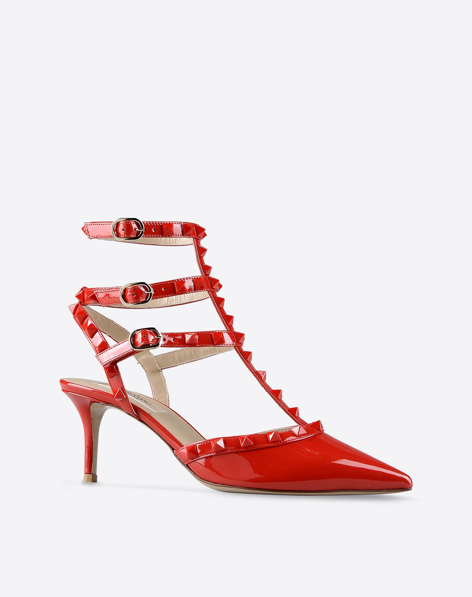 VALENTINO Varnished effect Solid color Buckle Leather sole Metallic inserts Narrow toeline Spike heel  44523683ox