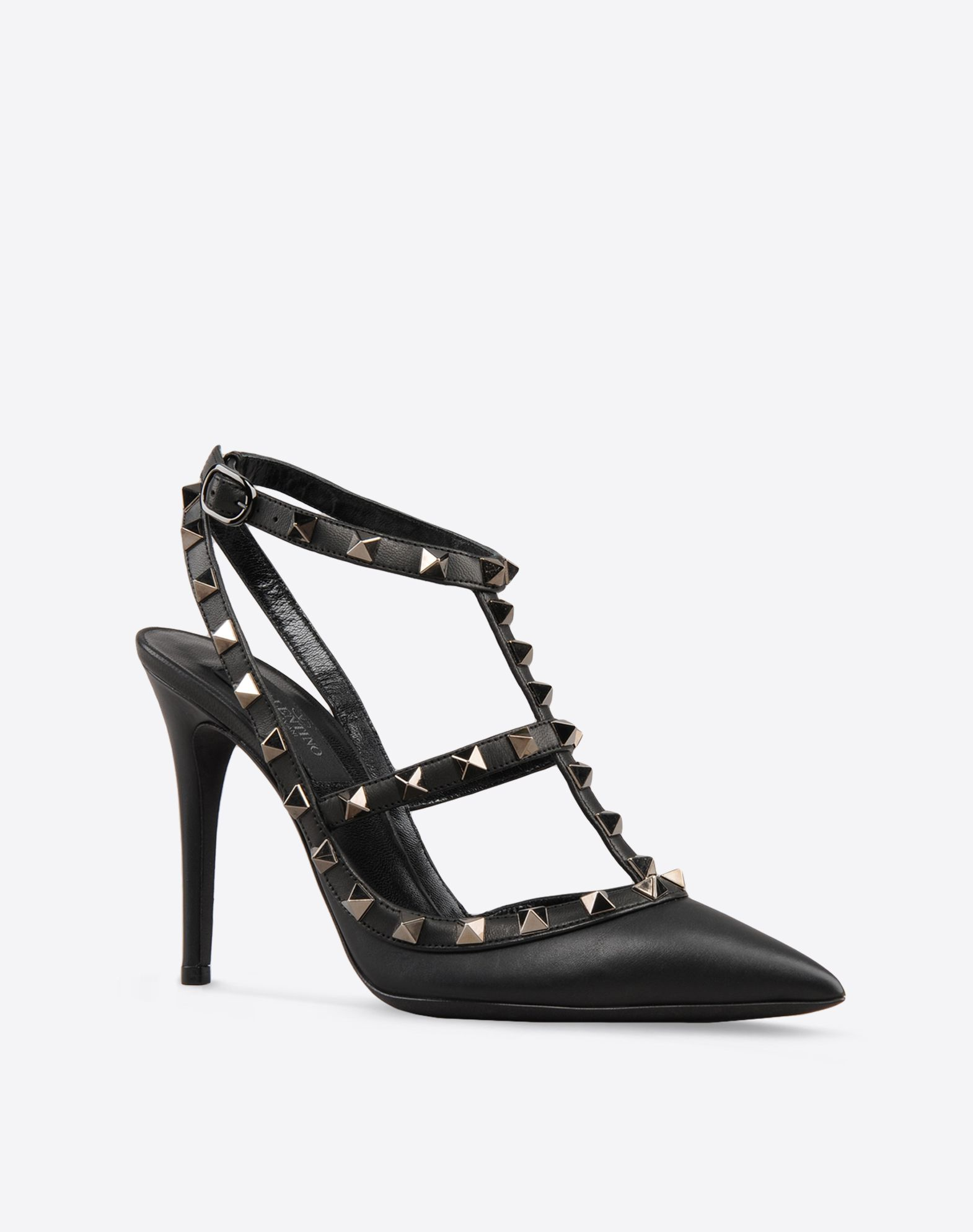 VALENTINO Solid color Side buckle closure Leather sole Contrasting applications Covered heel Narrow toeline  44527144lh