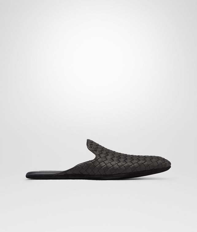 BOTTEGA VENETA Slipper Nera in Foulard Calf Intrecciato Mocassino o pantofola U fp