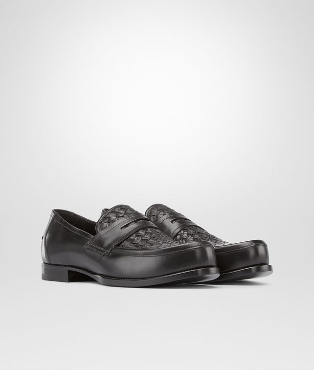 BOTTEGA VENETA Nero Calf Intrecciato Caiman Moccasin Mocassin or Slipper U fp