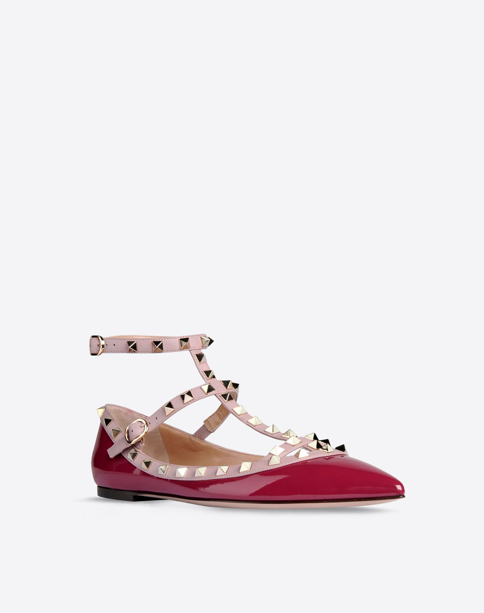 VALENTINO Varnished effect Two-tone pattern Buckle Leather sole Metallic inserts Narrow toeline  44561974hq