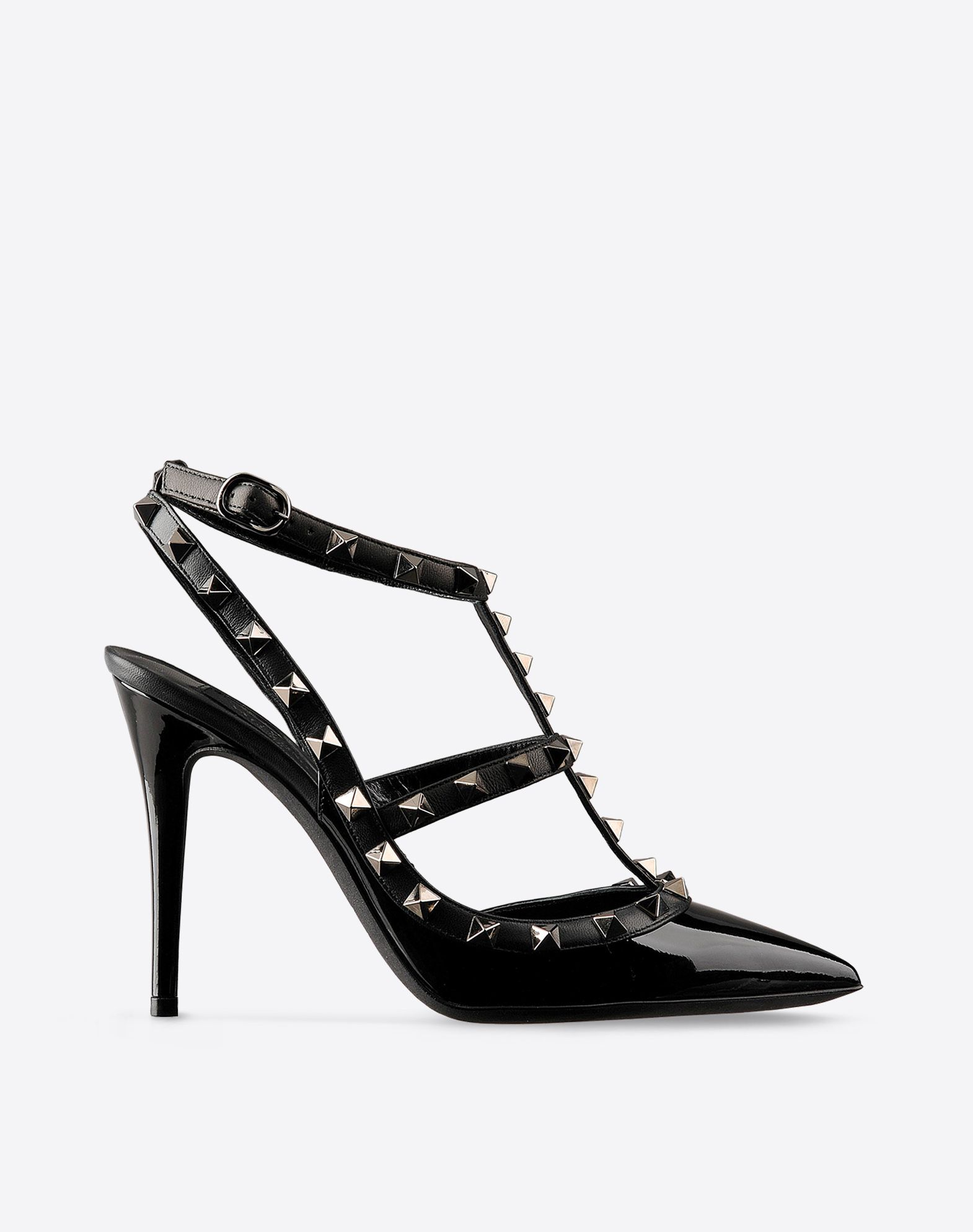 VALENTINO Varnished effect Solid color Side buckle closure Leather sole  Metallic inserts Narrow toeline Covered heel