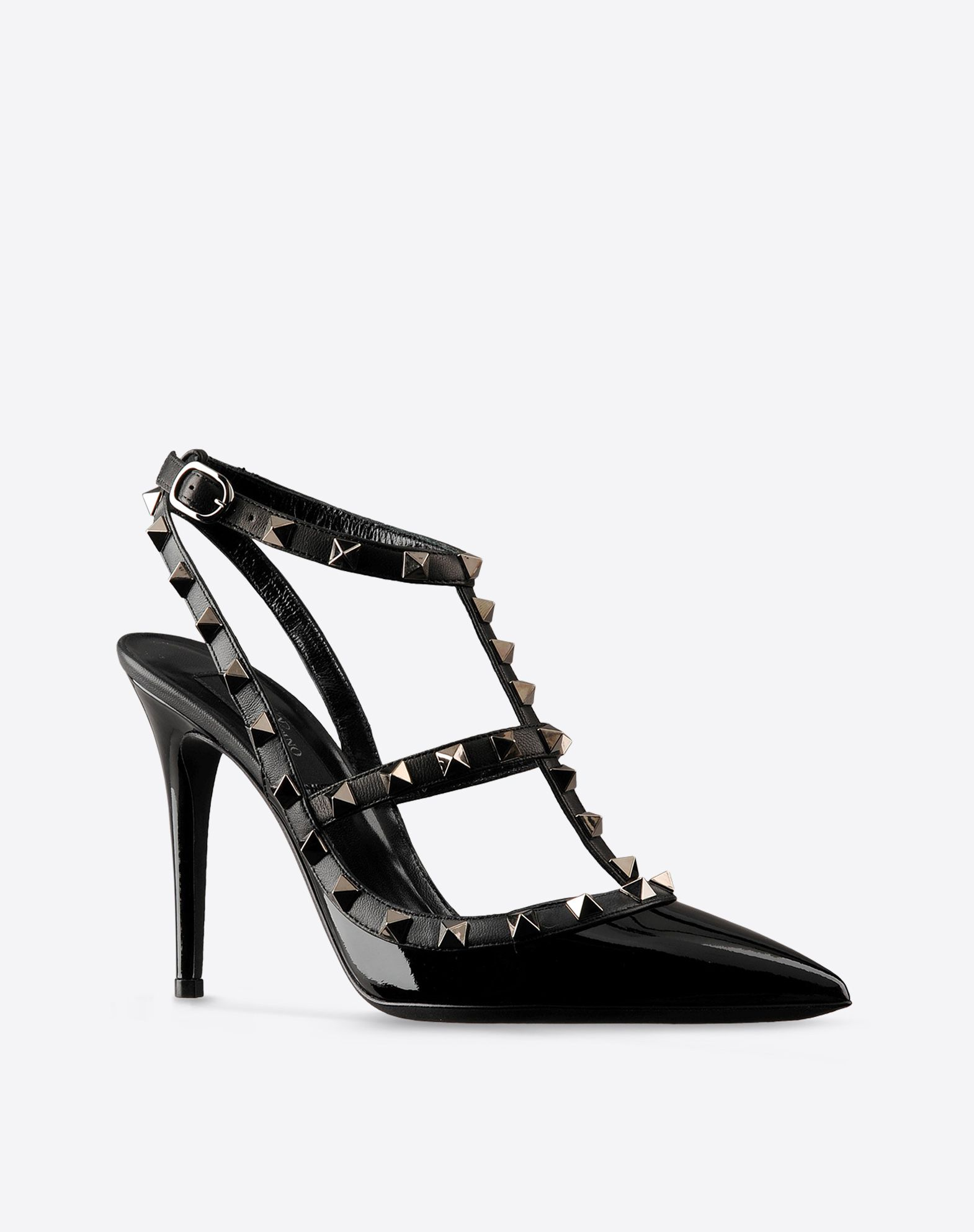 VALENTINO Varnished effect Solid color Side buckle closure Leather sole Metallic inserts Narrow toeline Covered heel  44569227jv