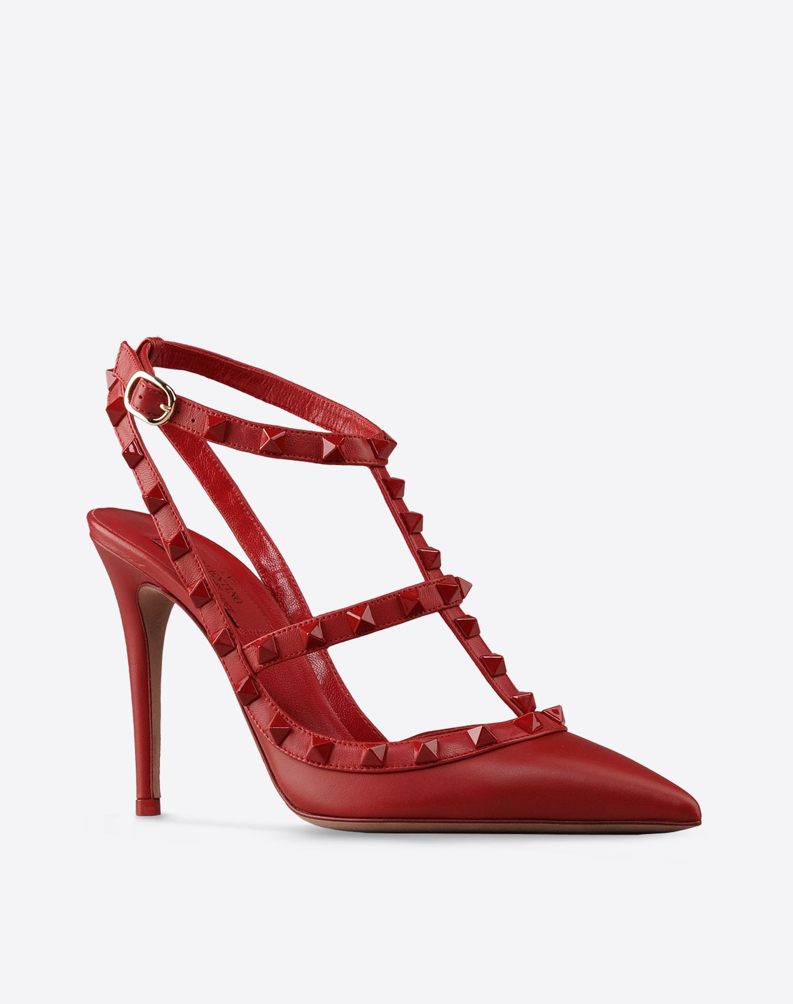 VALENTINO Solid color Side buckle closure Leather sole Contrasting applications Narrow toeline Covered heel  44569235ip