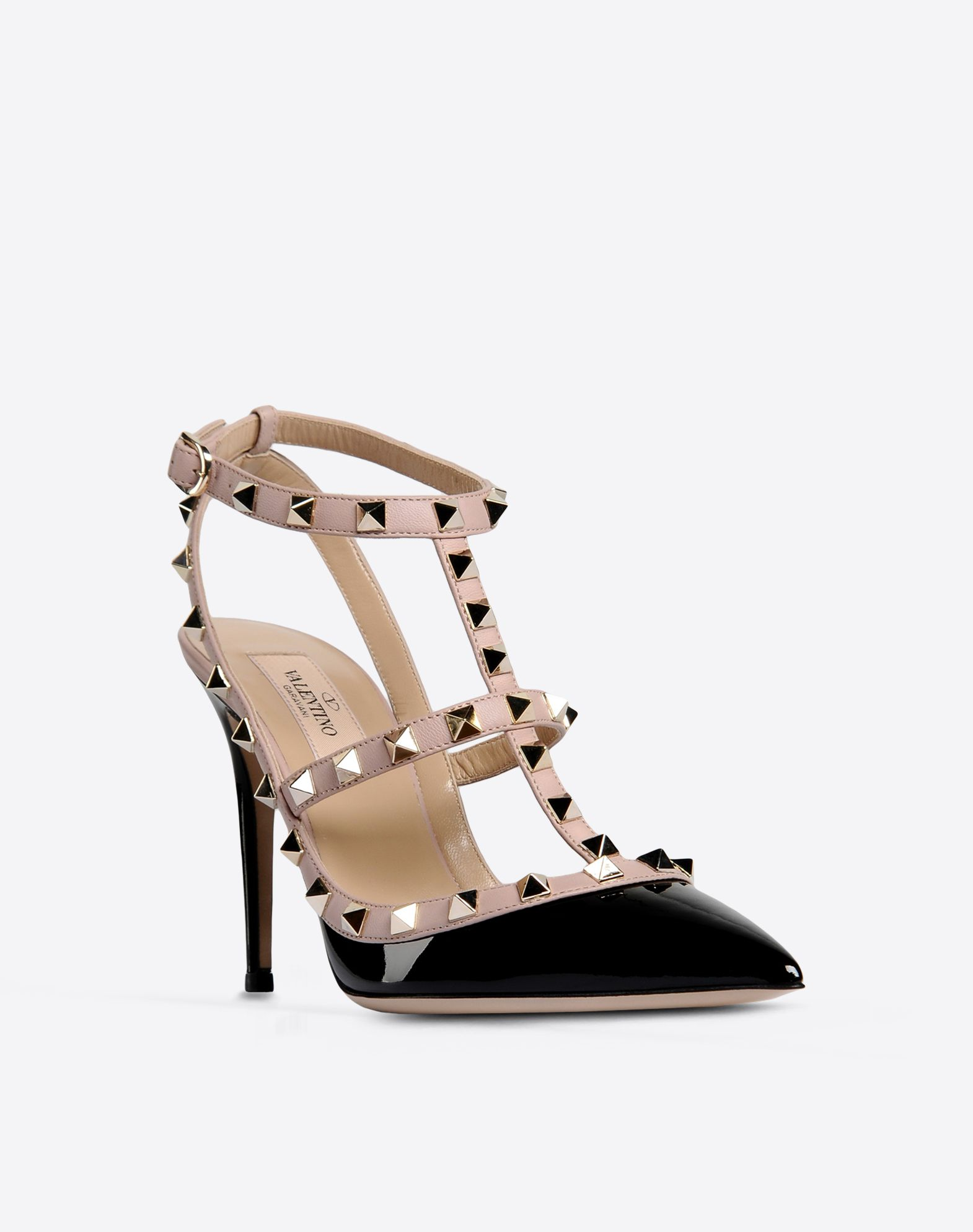 VALENTINO Varnished effect Two-tone pattern Buckling ankle strap closure Leather sole Narrow toeline Spike heel Metallic inserts  44572366wg