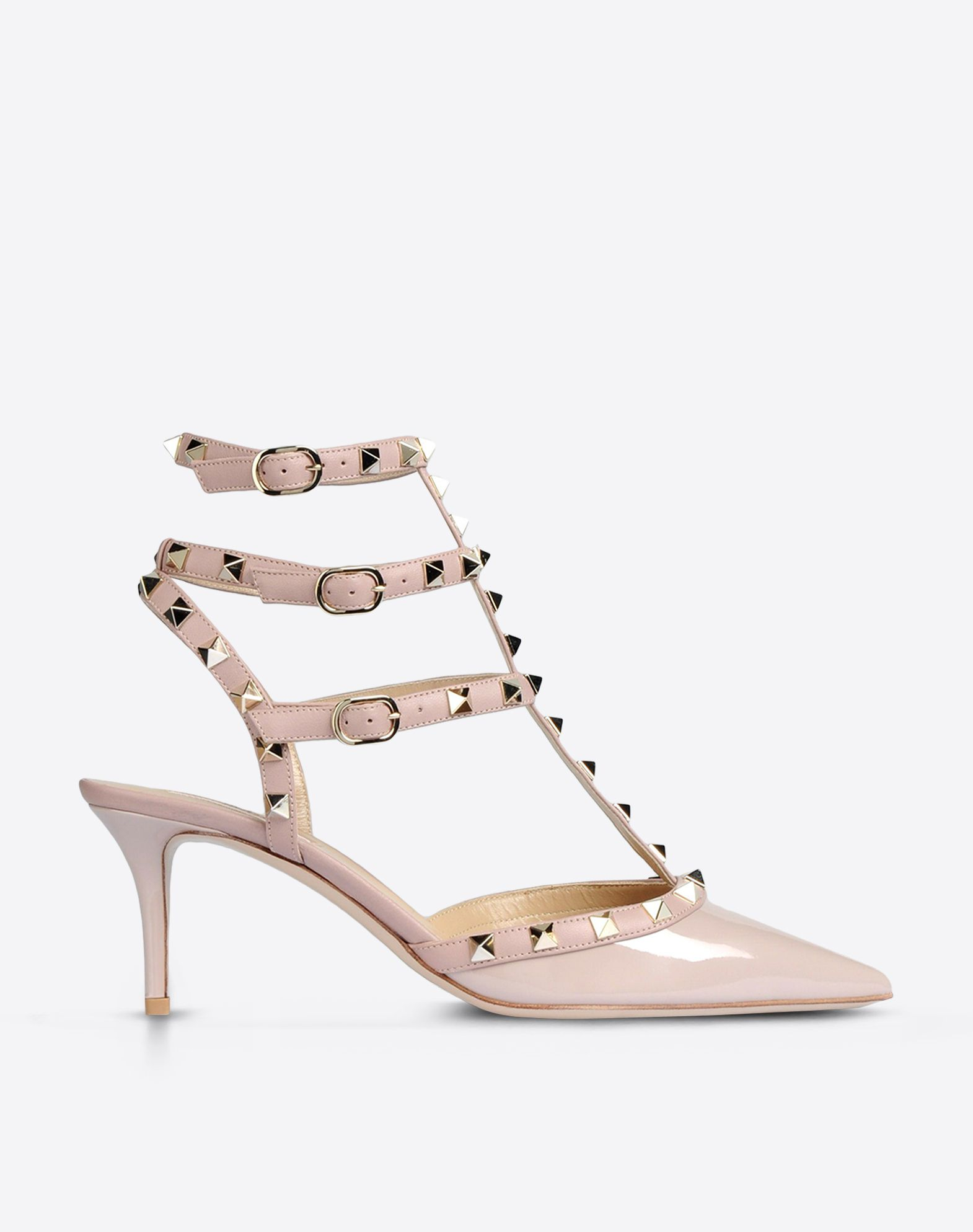 Valentino Garavani The Rockstud Patent-leather Pumps - Beige Valentino