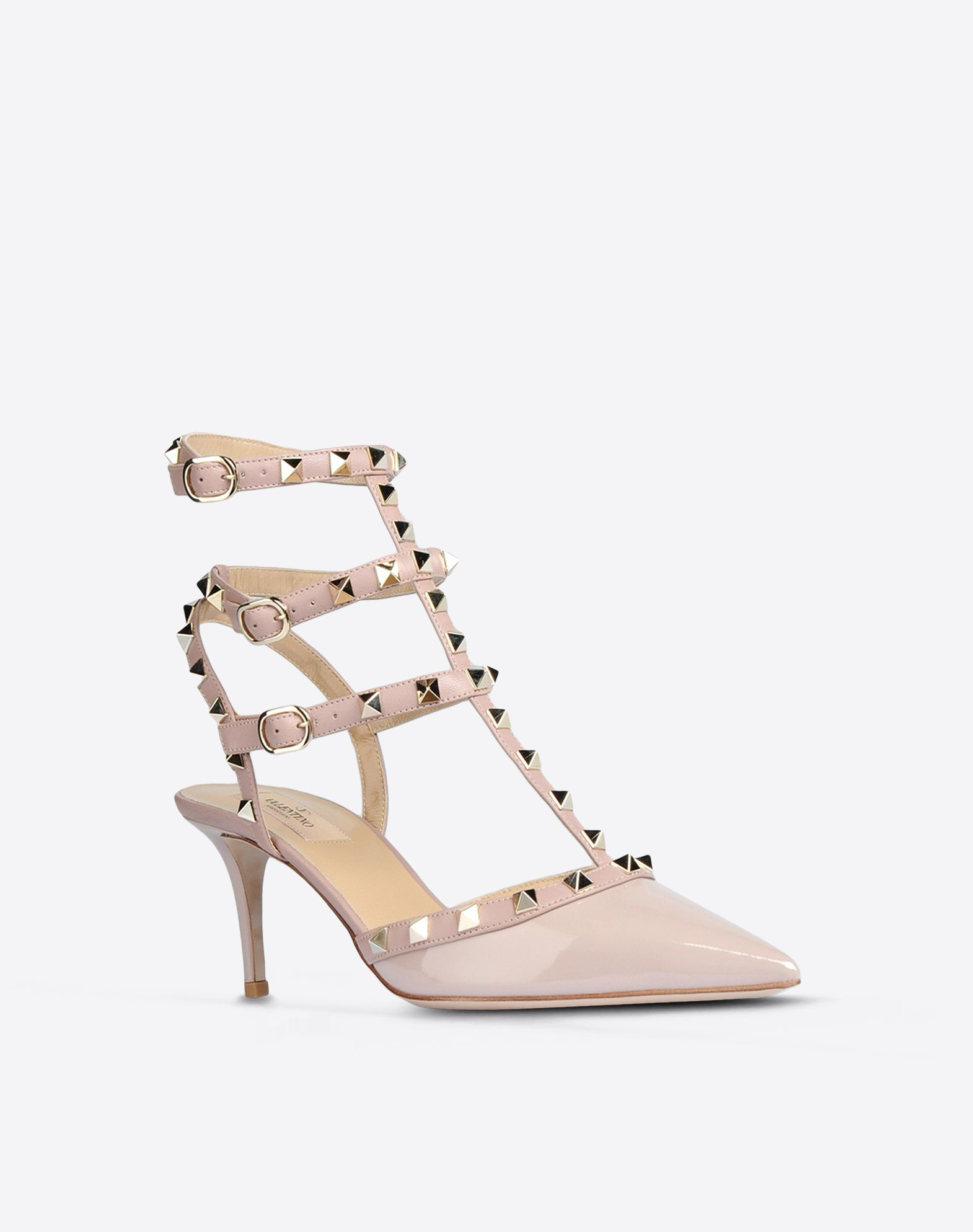 VALENTINO Varnished effect Solid color Buckling ankle strap closure Leather sole Metallic inserts Narrow toeline Spike heel  44572377tn