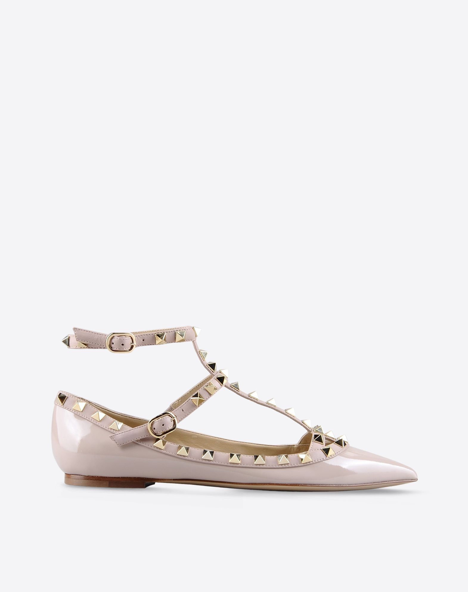 VALENTINO Varnished effect Solid color Buckling ankle strap closure Leather  sole Contrasting applications 44574401vl