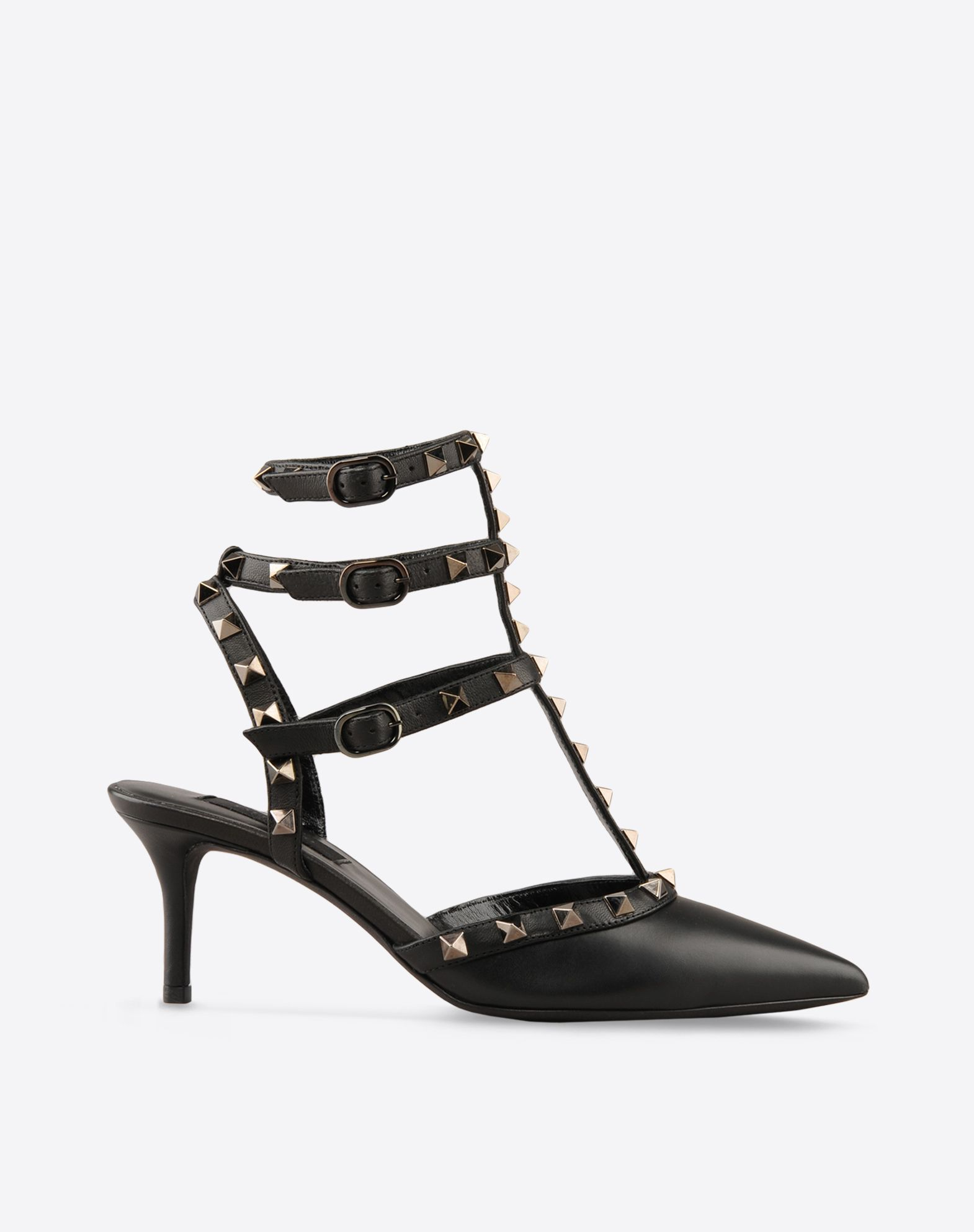 VALENTINO Solid color Leather sole Side buckle closure Metallic inserts Narrow toeline Spike heel  44583506gh