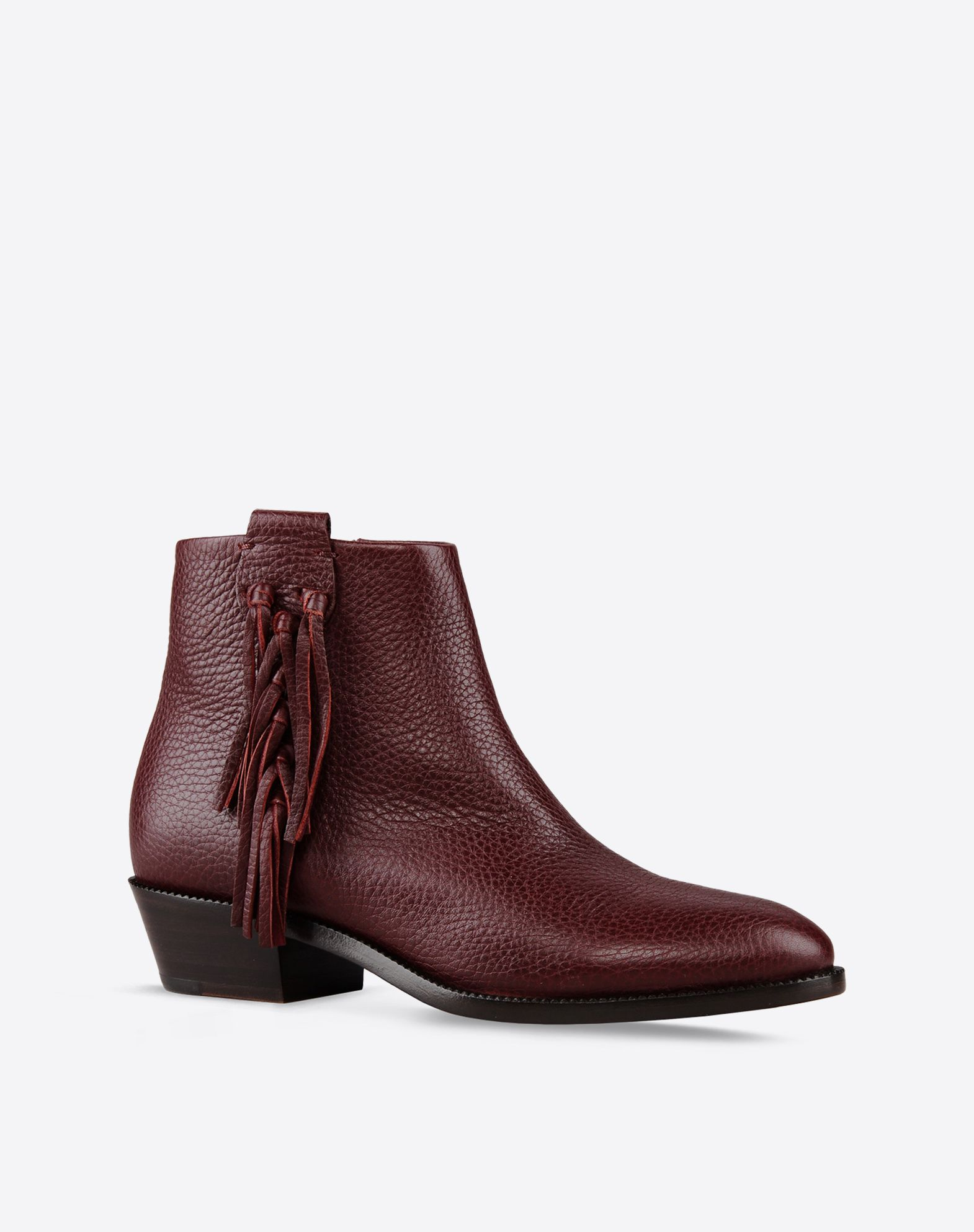 VALENTINO Textured leather Solid color Inner zip closure Leather sole Contrasting applications Round toeline Western heel  44585057ja