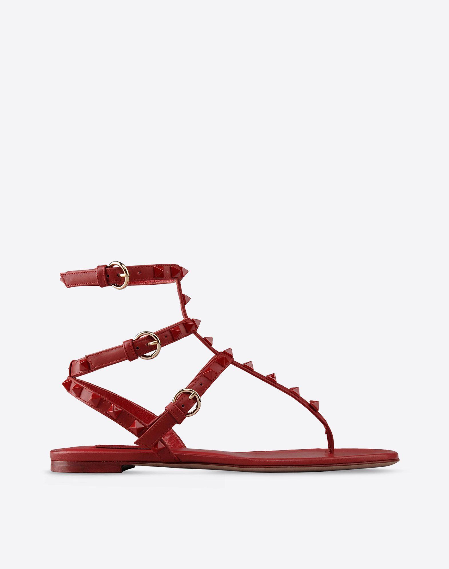 VALENTINO Tinta unita Cinturino alla caviglia Suola di cuoio Applicazioni a contrasto  44596338ra