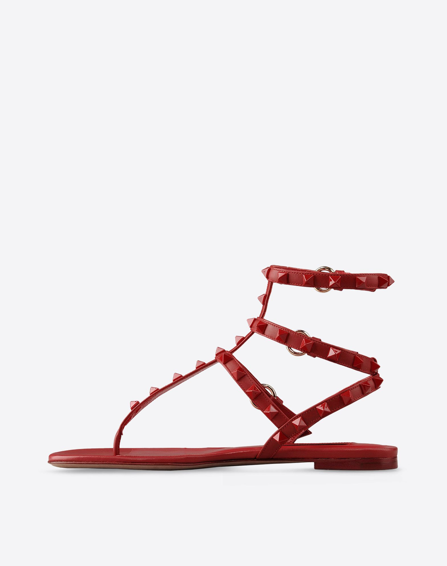 VALENTINO Solid color Buckling ankle strap closure Leather sole Contrasting applications  44596338ra